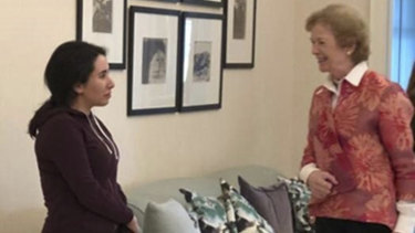 Sheikha Latifa's family released photos of her with Mary Robinson, a former United Nations High Commissioner for Human Rights, purporting to show her safely home after a kidnapping.