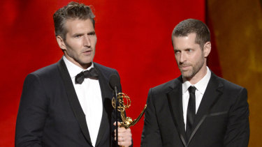 Emmy-winners: Game of Thrones showrunners David Benioff and D.B. Weiss.