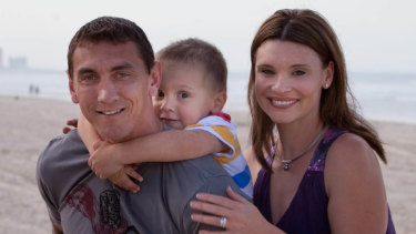 Amazing support: Mat Rogers with wife Chloe Maxwell and son Max.