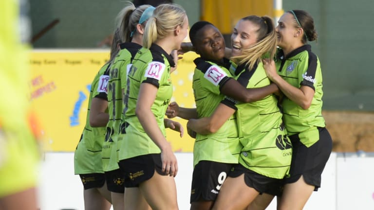 United players celebrate Rhoda Mulaudzi's opener.
