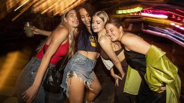 Katheine Bird (far left) with friends dancing the night away at the nightclub Pawn and Co in Greville street Prahran.