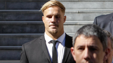 Charged: St George Illawarra player Jack de Belin leaving Wollongong Courthouse on Tuesday.