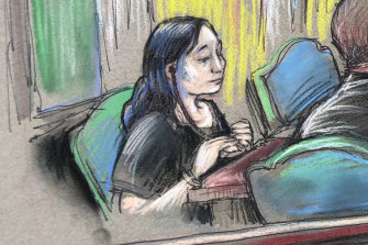 A court sketch of Yujing Zhang, who was arrested at Trump's Mar-a-Lago Florida resort.