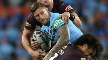 Fiery debut: Tariq Sims was heavily involved in his first Origin match.