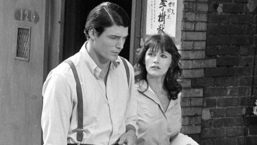 Christopher Reeve and Margot Kidder during the filming of Superman in 1977.