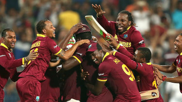 Carlos Brathwaite and the West Indies celebrate their 2016 T20 World Cup triumph.