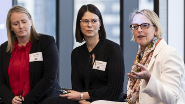 Outgoing Adalta chief executive Sam Cobb, Corrs Chambers Westgarth partner Felicity Saxon and Oculo chief executive Dr Kate Taylor.