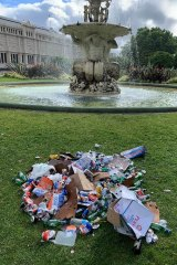 Waste collected at Carlton Gardens last Monday.