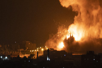An explosion caused by Israeli air strikes on the Gaza Strip early on Tuesday.