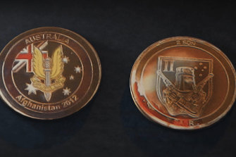 Souvenir Australian SAS coins given to military allies in Afghanistan.