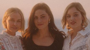 Lara Worthington (left), Phoebe Tonkin and Bella Heathcote in Capri with Zimmermann.