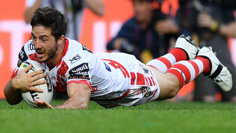 Breathing fire: Ben Hunt crossed for a brilliant try just before half time.