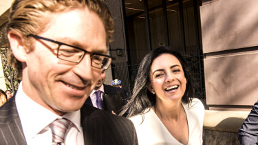 Barrister Sandy Dawson SC and former federal MP Emma Husar arrive at the Federal Court in Sydney on Monday.