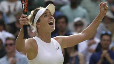 Ukraine's Elina Svitolina celebrates defeating Karolina Muchova.