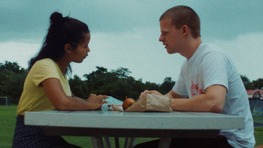 Taylor Russell (left) and Lucas Hedges in Waves.