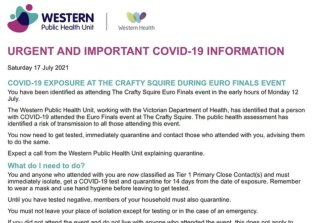 A message sent by the Western Public Health Unit warning people who attended a Euro finals event.