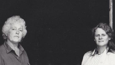 Betty Burstall, left, and Jones at La Mama in 1988.