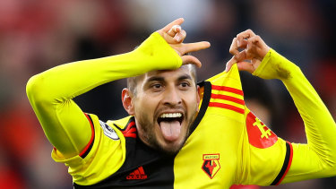 Roberto Pereyra celebrates scoring for Watford at Bournemouth on Sunday.