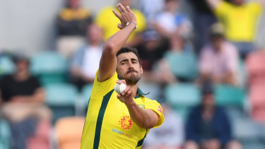 Back to the nets: Mitch Starc.