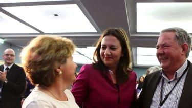 Tim Mulherin (right) with then-opposition leader Annastacia Palaszczuk and Bundamba MP Jo-Ann Miller in 2015.