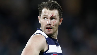 First blood: Patrick Dangerfield was forced from the ground in the second term.
