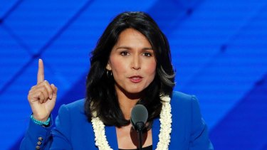 Tulsi Gabbard speaks at the Democratic National Convention in Philadelphia.