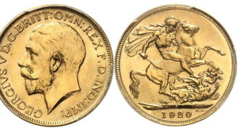 A 1920 George V Sovereign minted in Sydney that sold at a Monaco online auction on Saturday.