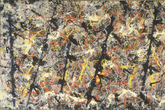 Better than the acclaimed Poussin? Detail from Jackson Pollock's Blue Poles.