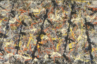 Detail from Jackson Pollock's Blue Poles.