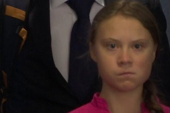 Greta Thunberg watches Donald Trump.