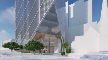 The proposed new design raises the cantilevered space to provide more room between the new tower and the church.