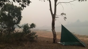 The overnight camp near Lake Jindabyne on New Year's Day: smoky conditions as the fire approached.