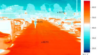 Thermal image of Queen Victoria Market carpark taken on a 36.7 degree day in January 2017. The temperature below a tree was 35.3 compared to the surface of the carpark, which was 66.3 degrees.