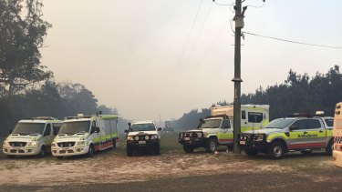 Emergency services respond to a fire in the Queensland community of Deepwater.