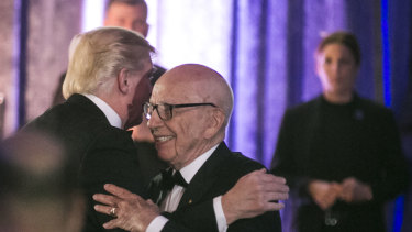 President Donald Trump and Rupert Murdoch at a dinner in New York City in 2017.