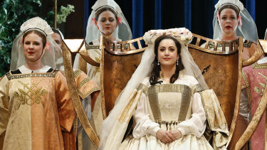 Natalie Aroyan as Eva and the Opera Australia ensemble in  Opera Australia's 2018 production of Wagner's Die Meistersinger