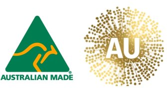 The green and gold kangaroo (left) and the new Australia logo approved by Trade Minister Simon Birmingham.