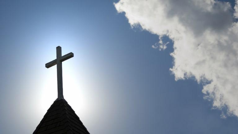 A cross on a church.