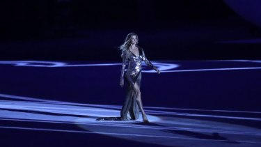 Gisele Bundchen walks on stage as 'The Girl from Ipanema' during the opening ceremony for the 2016 Summer Olympics in Rio de Janeiro.
