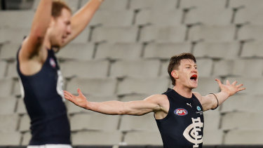 Sam Walsh makes his presence felt for his side.