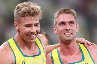 Dubler and Moloney celebrate together after the 1500.