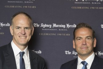 News Corp Australia executive chairman Michael Miller and global co-chairman Lachlan Murdoch.