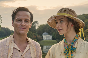 Andrew Scott, who plays the bohemian lord of the next-door manor Merlin, and Lily James as Linda in The Pursuit of Love.