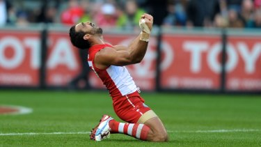 Adam Goodes at the end of the 2012 grand final.