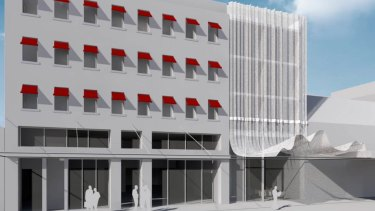 Render of the new proposed QT Hotel on Fitzroy Street, St Kilda.