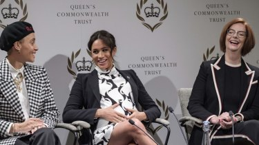 Meghan Markle, the Duchess of Sussex, and former Australian prime minister Julia Gillard talked about the importance of education for girls and reducing barriers to accessing leadership positions.