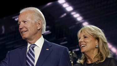 Former Vice President Joe Biden, Democratic presidential nominee, left, and wife Jill Biden