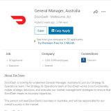 LinkedIn job ads for DoorDash in Australia.