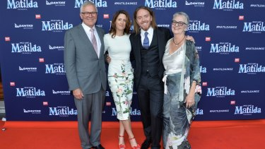 Tim Minchin and mother Ros, wife Sarah and father David arriving on the red carpet for The Royal Shakespeare Company's production of Matilda the musical at the Princess Theatre in Melbourne.