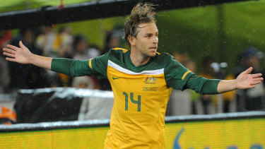 Brett Holman scores a late winner for the Socceroos against New Zealand at the Melbourne Cricket Ground in May 2010.